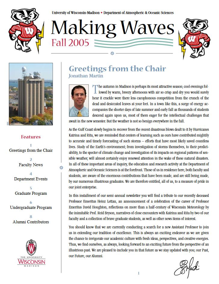 The Fall 2005 AOS Alumni newsletter.