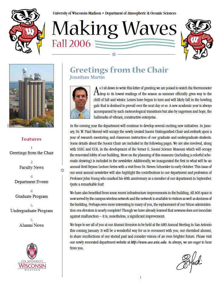 The Fall 2006 AOS Alumni newsletter.