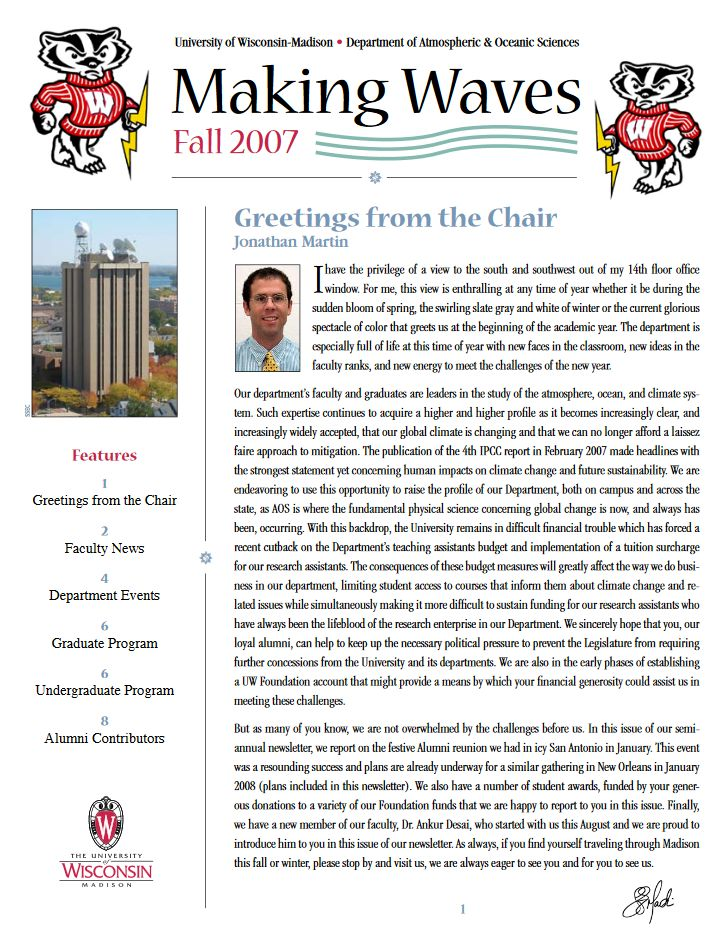 The Fall 2007 AOS Alumni newsletter.