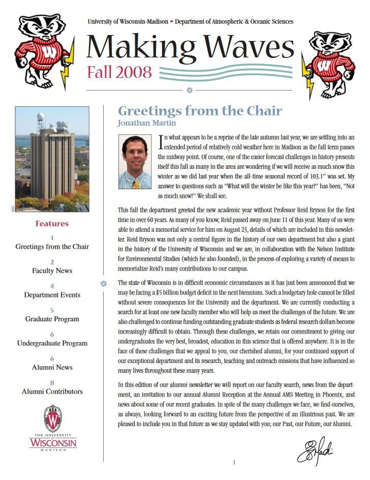 The Fall 2008 AOS Alumni newsletter.