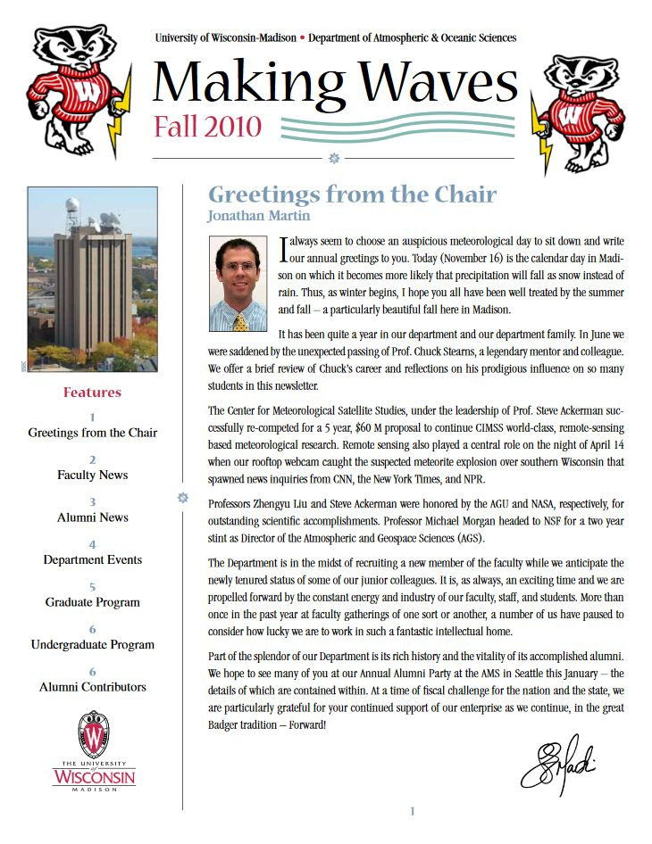 The Fall 2010 AOS Alumni newsletter.