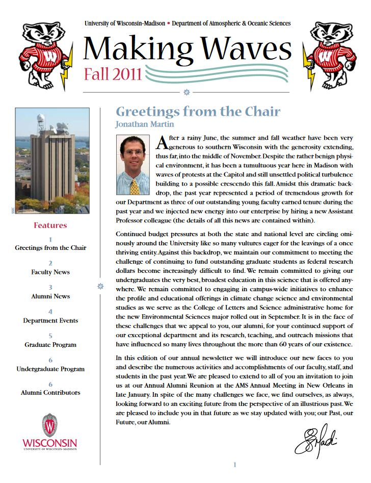 The Fall 2011 AOS Alumni newsletter.