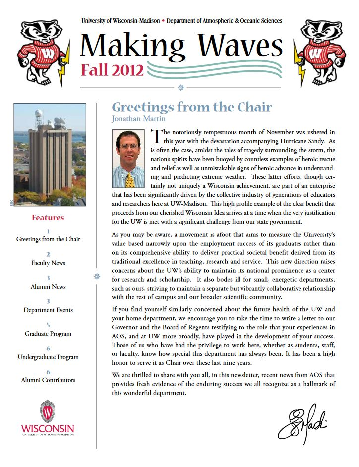 The Fall 2012 AOS Alumni newsletter.