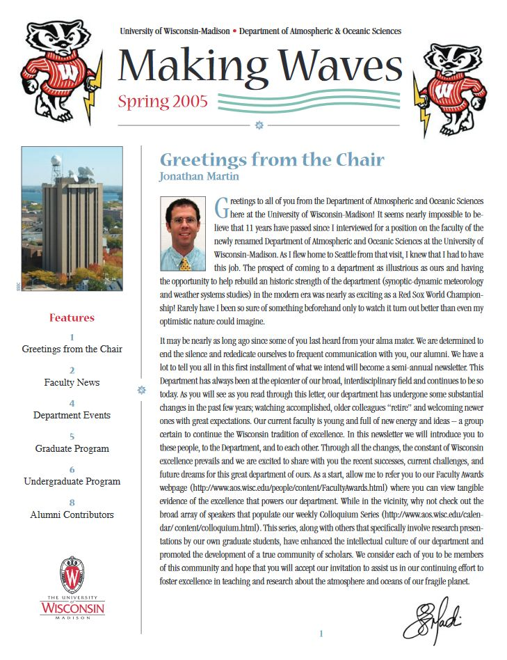 The Spring 2005 AOS Alumni newsletter.