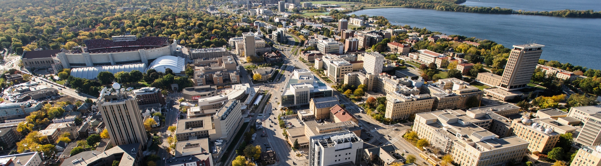 An aerial view of the Atmospheric and Oceanic Sciences department with Camp Randall and West Madison in the background.
