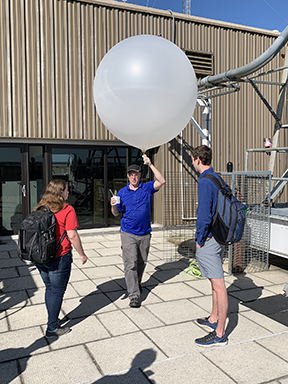 Photo of a weather balloon launch